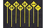 Misc Warning Signs (8) -- O Scale Model Railroad Roadway Signs -- #2075