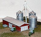 Modern Barn & Grain Silo Box Set -- Z Scale Model Railroad Building -- #30004
