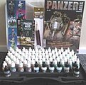 Panzer Aces Paint Set/Plastic Storage Case (72 Colors & Brushes) -- Hobby and Model Paint -- #70174