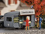 Hot Dog Stand Concession Trailer -- N Scale Model Railroad Building -- #47619