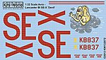 Avro Lancaster BI SE-X Devil -- Plastic Model Aircraft Decal -- 1/32 Scale -- #132072