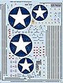 B17F Stars, General Stenciling, Cockpit Instrumentation & Walkways -- Decal -- 1/48 -- #148127