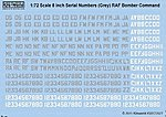 1/72 8'' Serial Numbers RAF Bomber Command Grey & White