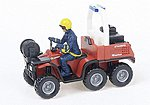 Fire Department 6-Wheel All-Terrain Vehicle w/Driver -- HO Scale Model Railroad Vehicle -- #60007
