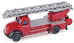 Fire Dept. Magirus DL 25 h Rear-Mount Aerial Ladder -- N Scale Model Railroad Vehicle -- #96240