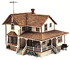 Corner Porch House -- HO Scale Model Railroad Building -- #br5046