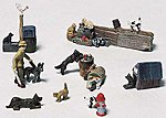 Scenic Details -- Cats & Dogs -- HO Scale Model Railroad Figure -- #d226