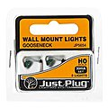 Gooseneck Wall Mount Lights (2) -- Model Railroad Lighting Kit -- HO Scale -- #jp5654