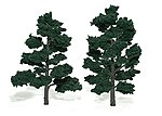 Ready Made Realistic Trees -- 6'' - 7'' Dark Green (2) -- Model Railroad Tree -- #tr1517