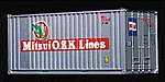 20' Ribbed-Side Container - Assembled - Mitsui OSK -- HO Scale Model Train Freight Car Load -- #1757