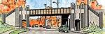 Art Deco Highway Underpass Kit (13-7/8 x 11 x 5-1/2'') -- HO Scale Model Railroad Bridge -- #3190