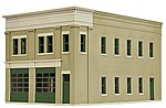 Two-Bay Fire Station - Kit - 8 x 4-7/8 x 5-1/2'' -- HO Scale Model Railroad Building -- #4022