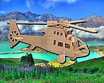 Fighter Helicopter (11'' Long) -- Wooden 3D Jigsaw Puzzle -- #1018