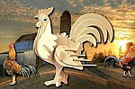 Rooster (6'' Tall) -- Wooden 3D Jigsaw Puzzle -- #1026