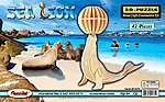 Sea Lion with Ball (7.25'' Tall) -- Wooden 3D Jigsaw Puzzle -- #1271