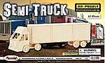 Semi Truck Freightliner Tractor Trailer (16.4'' Long) -- Wooden 3D Jigsaw Puzzle -- #1415