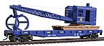 Flatcar w/Logging Crane Alaska Railroad Blue -- Model Train Freight Car -- HO Scale -- #1780