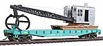 Flatcar w/Logging Crane Union Pacific Green & Black -- Model Train Freight Car -- HO Scale -- #1783