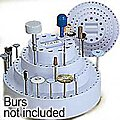 Rotating Bur Holder -- 7 x 4'' Holds up to 126 Burs, Fits Shanks 1/4, 1/8, 3/32 & 1/16''