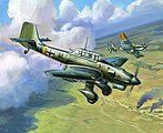 Ju87B2 Stuka Dive Bomber (Snap) -- Plastic Model Airplane Kit -- 1/144 Scale -- #6123