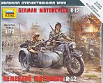 German Motorcycle R-12 w/Sidecar -- Plastic Model Motorcycle Kit -- 1/72 Scale -- #6142