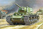 KV-1 w/F-32 Gun Soviet WWII Heavy Tank -- Plastic Model Military Vehicle -- 1/100 Scale -- #6190