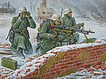 German MG w/Crew Winter Uniform (Snap) -- Plastic Model Military Figure -- 1/72 Scale -- #6210