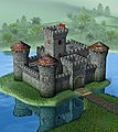 Medieval Stone Castle w/Center Tower -- Plastic Model Military Diorama -- 1/72 Scale -- #8512