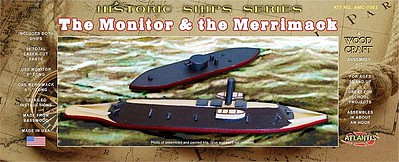 Atlantis Model Company USS Monitor (6''L) & Merrimack (9.5''L) Ironclad Ships (Basswood Kits)