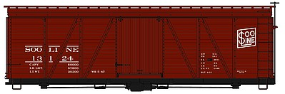 Accurail 36' Fowler Wood Boxcar SOO Line -- HO Scale Model Train Freight Car Kit -- #1151