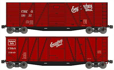 Accurail 40' Wood Outside-Braced Boxcar Kit 1 Each 6 & 8 Panel, CB&Q -- HO Scale Freight Car -- #1210