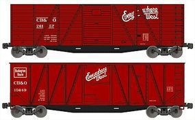 Accurail 40 Wood Outside-Braced Boxcar Kit 1 Each 6 & 8 Panel, CB&Q HO Scale Freight Car #1210
