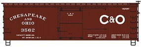 Accurail HO Chesapeake & Ohio 36 Dbl Sheath Wood Boxcar w/Wood Ends