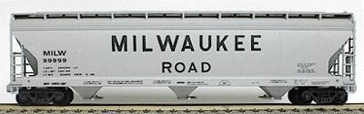 Accurail 47' 3-Bay Center Flow Covered Hopper Kit Milwaukee Road -- HO Scale Model Train Freight Car -- #2007