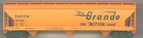 Accurail 47 3-Bay Covered Hopper Denver & Rio Grande Western HO Scale Model Train Freight Car #2034