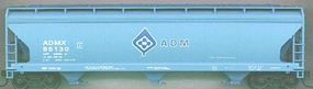 Accurail 47 3-Bay Center Flow Covered Hopper - Kit ADM Blue HO Scale Model Train Freight Car #2037