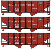 Accurail USRA 55-Ton 2-Bay Hopper 3-Pack Kit Chicago & NW HO Scale Model Train Freight Car #24254