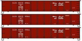 Accurail 41 Steel Gondola 3-Pack - Kit - Illinois Central HO Scale Model Train Freight Car #37454