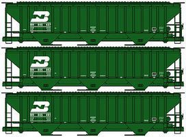Accurail PS 4750 Grain Hopper Burlington Northern (3) HO Scale Model Train Freight Car #8080