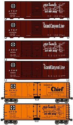 Accurail 40' Steel two Boxcar and one Reefer Kit Set ATSF -- HO Scale Model Train Freight Car Set -- #8082