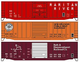 Accurail 50 Exterior-Post Boxcar 3-Pack - Kit One Each- Raritan River, New Orleans Public Belt, Bath & Hammondsport