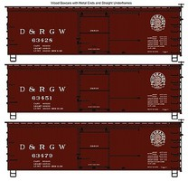 Accurail 36 Wood Boxcar 3-Pack - Kit Denver & Rio Grande Western