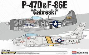 Academy P-47D/F-84E Gabreski Plastic Model Airplane Kit 1/72 Scale #12530