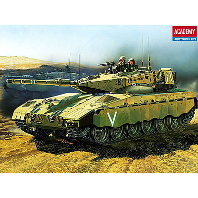 Academy Plastics Merkava Battle Tank with Motor -- Motorized Plastic Model Vehicle Kit -- 1/48 Scale -- #1301