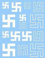 Archer Swastikas Early 5mm, 7.5mm, 10mm (White) Plastic Model Vehicle Decal 1/72 Scale #72197w