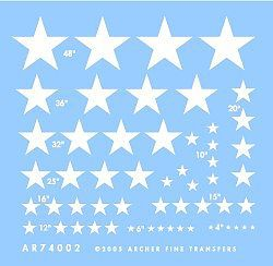 Archer Fine Transfers US National Insignias Stars for Vehicles -- Plastic Model Vehicle Decal -- 1/72 Scale -- #74002w