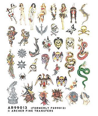 Archer Fine Transfers Traditional Old School Tattoos -- Plastic Model Decal -- 1/4 Scale -- #99013