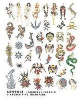 Archer Traditional Old School Tattoos Plastic Model Decal 1/4 Scale #99013