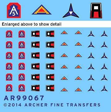 Archer Fine Transfers US 1st, 5th, 7th Army & 3rd Corps Uniform Patches #3 -- Plastic Model Decal -- 1/35 Scale -- #99067