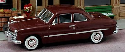 American Heritage Car Co. 1949 Ford 2-Door Coupe (Maroon) -- O Scale Model Railroad Vehicle -- #43406